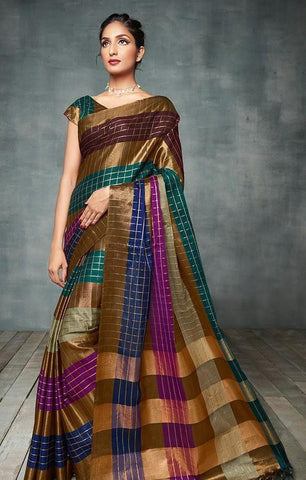 Multi Color Pure Soft Cotton Silk Saree - SRP-MarviChecks