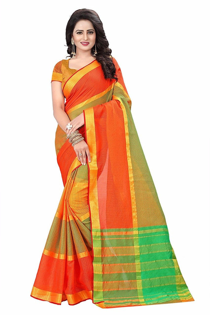 Orange Color Cotton Silk Saree