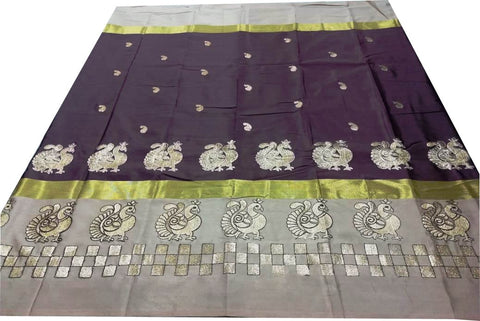 Parrot Color Pure Soft Cotton Silk Saree - SRP-Mayur Picnic Dark Coffee