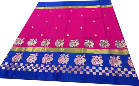 Dark Coffee Color Pure Soft Cotton Silk Saree - SRP-Mayur Picnic Dark Pink