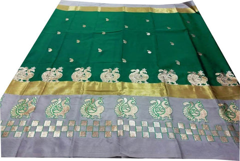 Dark Pink Color Pure Soft Cotton Silk Saree - SRP-Mayur Picnic Green