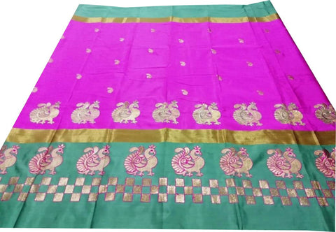 Green Color Pure Soft Cotton Silk Saree - SRP-Mayur Picnic Lavender