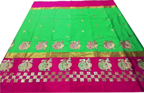 Lavender Pure Soft Cotton Silk Saree - SRP-Mayur Picnic Parrot