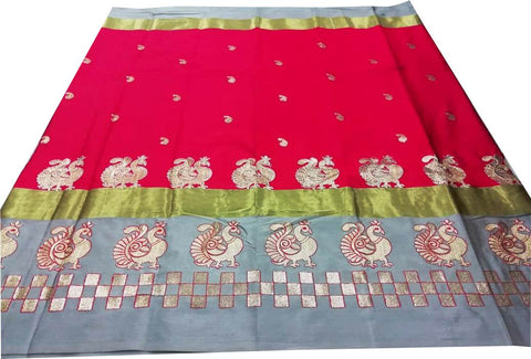 Red Color Pure Soft Cotton Silk Saree - SRP-Mayur Picnic Red