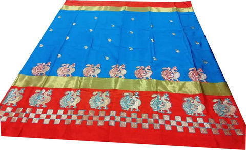 Sky Blue And Orange Color Pure Soft Cotton Silk Saree - SRP-Mayur Picnic Skyblue And Orange