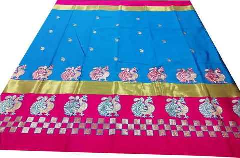 Sky Blue And Pink Color Pure Soft Cotton Silk Saree - SRP-Mayur Picnic Skyblue And Pink