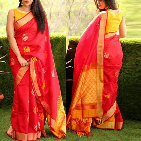 Red Color Bhagalpuri Saree - SRP-Misty Red