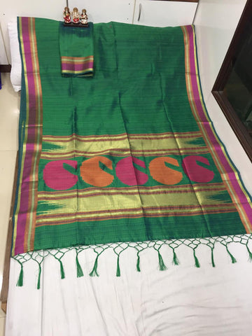 Green Color Pure Ikkat Cotton Saree - SRP-NAVYA Green