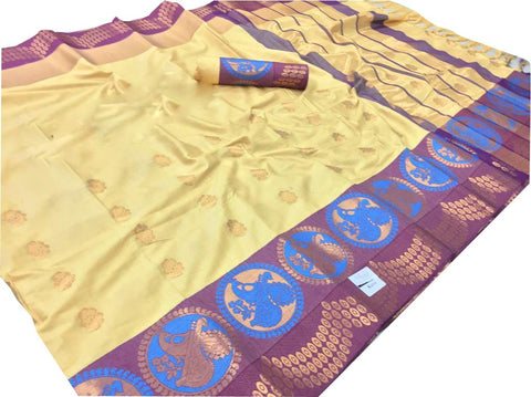 Cream Color Pure Cotton Silk Saree - SRP-NazreenCream