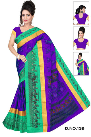 Purple and SkyBlue Color Cotton Silk Saree - SRP-Pavitra-Purple-Skyblue
