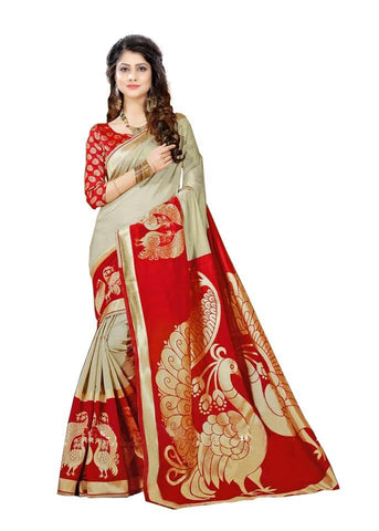 Red Color Strawberry Silk Saree - SRP-Peacock Red