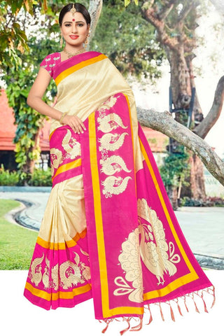 Pink Color Art Silk Printed Saree - SRP-Peacoke Pink