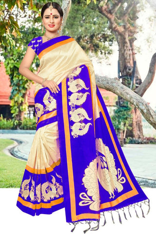 Purple Color Art Silk Printed Saree - SRP-Peacoke Purple