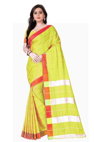 Yellow Color Pure Soft Lelian Poly Cotton Saree - SRP-Pilu Yellow