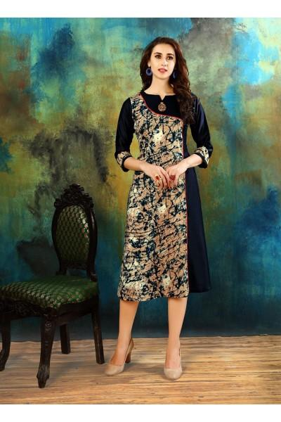 Buy Blue and Grey Color Heavy Rayon Cotton Kurti
