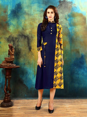 Buy Blue and Yellow Color Heavy Rayon Cotton Kurti