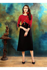 Buy Red and Black Color Heavy Rayon Cotton Kurti