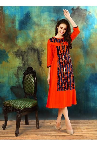Buy Red Color Heavy Rayon Cotton Kurti