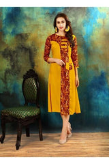 Buy Yellow Red Color Heavy Rayon Cotton Kurti
