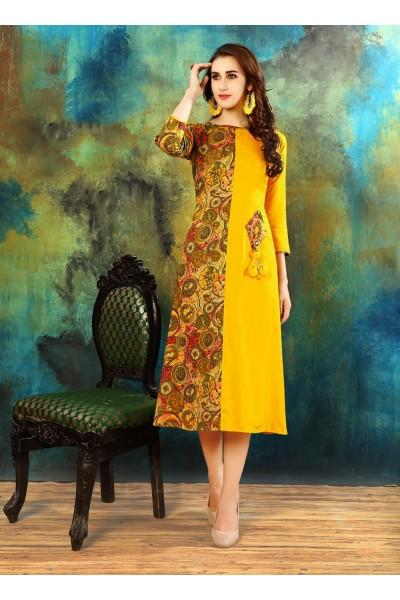 Buy Yellow Color Heavy Rayon Cotton Kurti