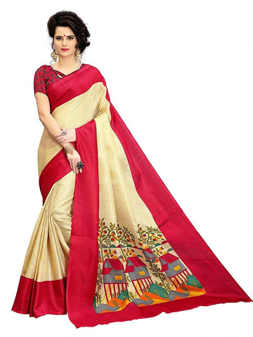 Red and OffWhite Color Strawberry Silk Saree - SRP-Red House