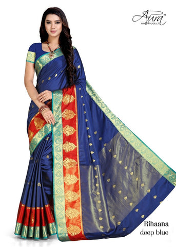 Blue Color Pure Cotton Silk Saree  - SRP-RihaanaBlue