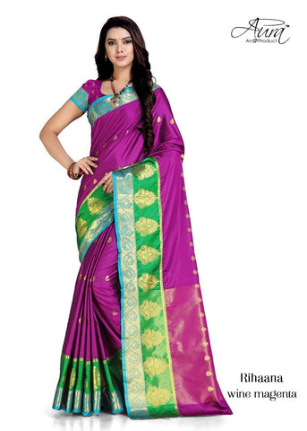 Magenta Color Pure Cotton Silk Saree  - SRP-RihaanaMagenta