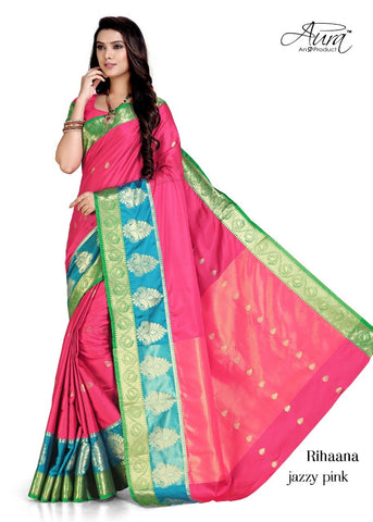 Pink Color Pure Cotton Silk Saree  - SRP-RihaanaPink