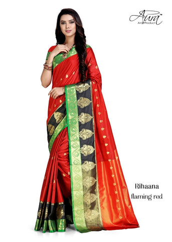 Red Color Pure Cotton Silk Saree  - SRP-RihaanaRed