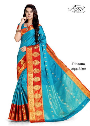 Sky Blue Color Pure Cotton Silk Saree  - SRP-RihaanaSkyblue