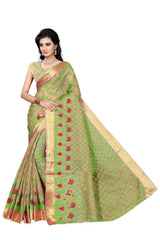 Green Color Viscos Jecquard Saree