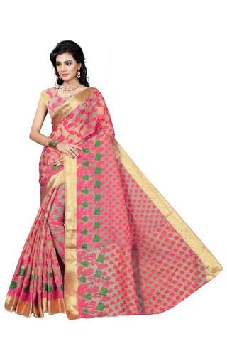 Pink and Green Color Viscos Jecquard Saree - SRP-Rinky Pink Green