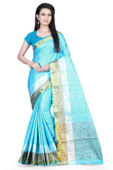 Buy SkyBlue Color Pure Soft Dobby Jacquard Silk Saree