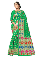 Buy Green Color Banarasi Jacquard Silk Saree