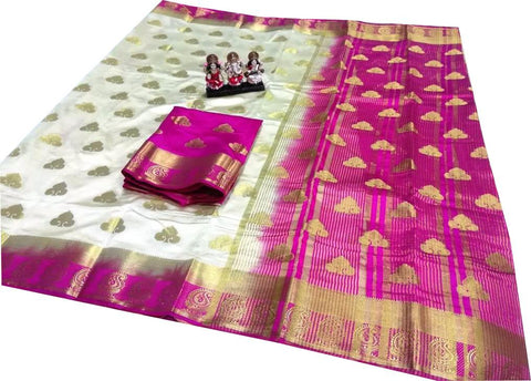 Cream Color Pure Soft PolyZari Silk Saree - SRP-Salma Cream