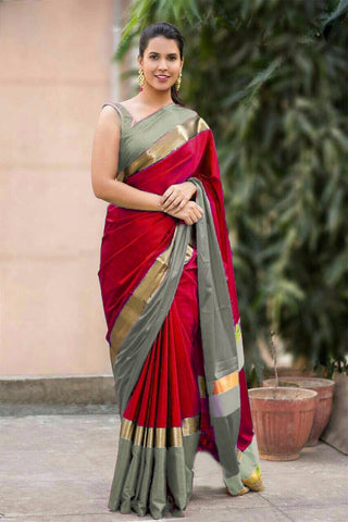 Dark Red Color Cotton Silk Saree - SRP-Vrunda Dark Red