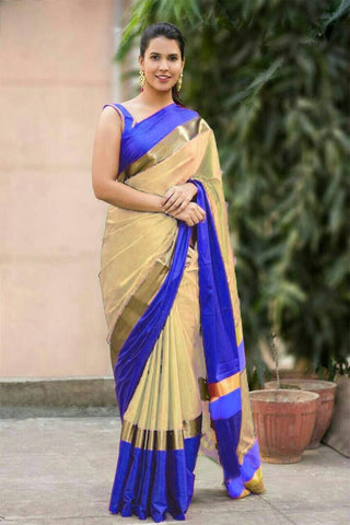 OffWhite and Purple Color Cotton Silk Saree - SRP-Vrunda OffWhite and Purple