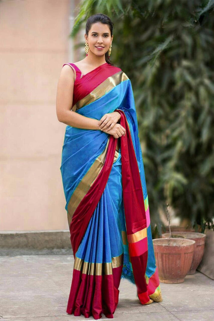 SkYBlue Color Cotton Silk Saree