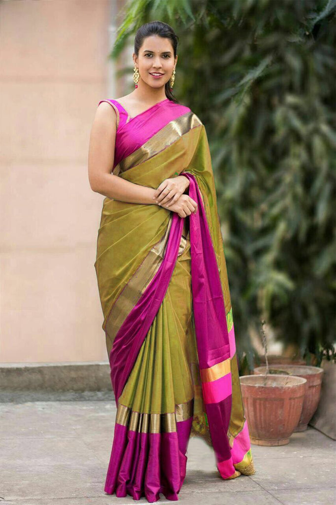Yellow and Pink Color Cotton Silk Saree