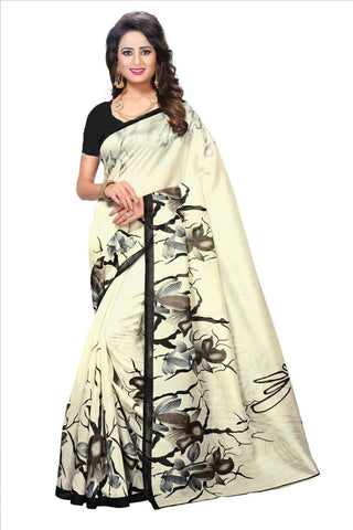 White Color Bhagalpuri Saree - SRP-White Rose