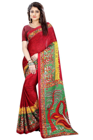 Red Color Fancy Cotton Silk Saree - SRP-Zara Red