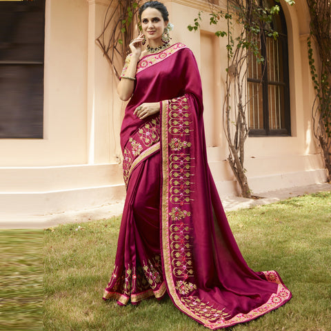 Rani Color Barfi Saree - SRUSHTI-4118