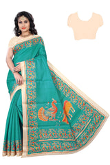 Rama Color Khadi Saree