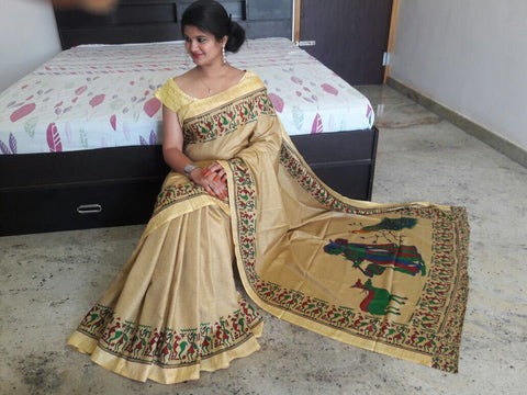 Cream Color Khadi Sarees - SRp-Piyu Cream