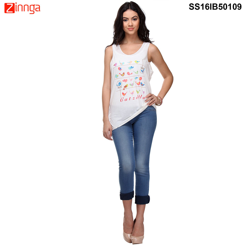 White Color Cotton Knitted Top