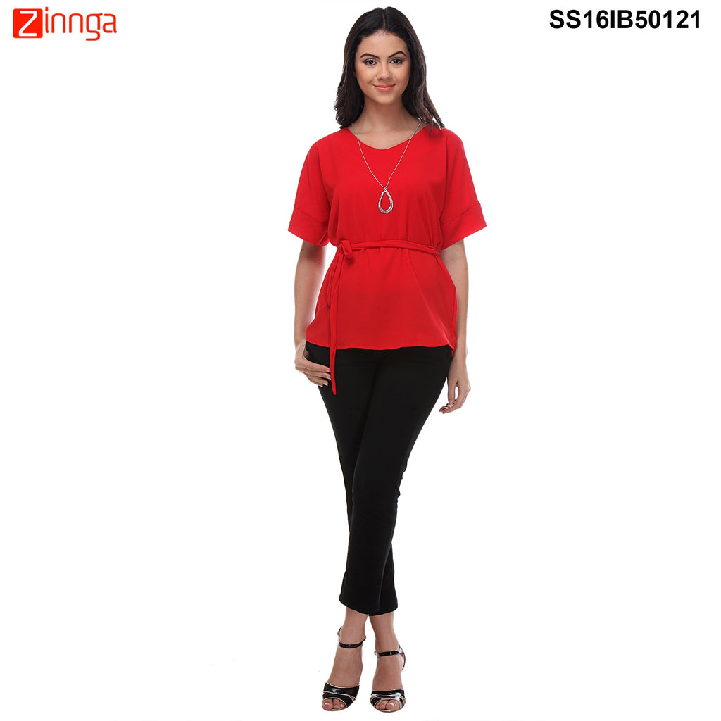 Red Color Cotton Knitted Top