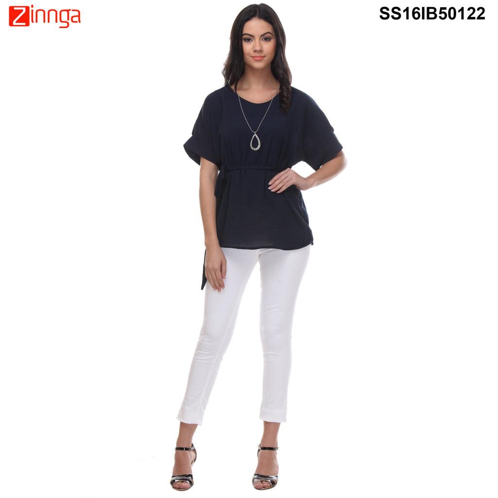 Black Color Cotton Knitted Top