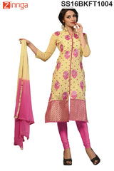 pink and Beige Color Chanderi Cotton Dress Material