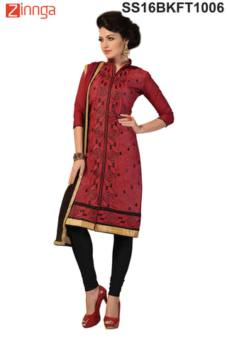 Red  Color Chanderi Cotton Dress Material - SS16BKFT1006