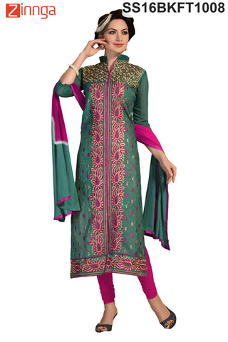 Green  Color Chanderi Cotton Dress Material - SS16BKFT1008